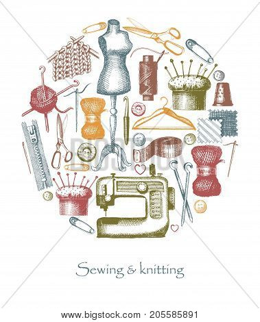 Sketches of sewing and needlework. Vector illustration of tools and materials in the form of a circle