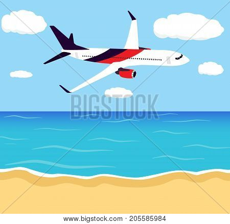 Big Passenger Airplane In Half-profile, Flying In The Sky Above The Seashore. Travel, Tourism, Summe