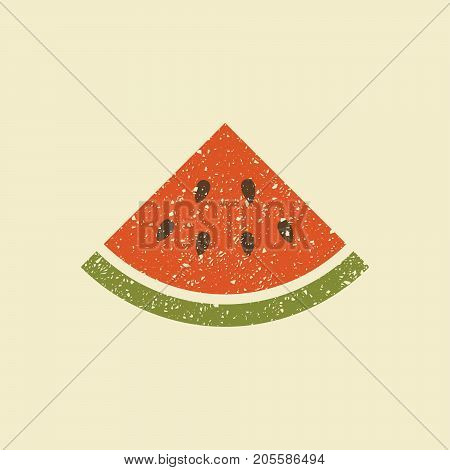 Icon watermelon. Stylized drawing with colored pencils