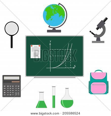 Back To School Design. Set Of School Supplies Schoolbag, Calculator, Globe, Magnifier, Microscope, G