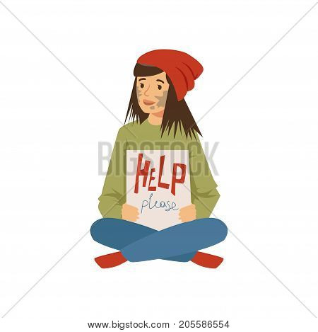 Homeless young woman character sitting on the street and holding signboard asking for help, unemployment man needing help vector illustration isolated on a white background