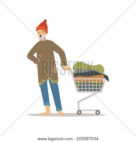 Homeless man character pushing shopping cart with his possessions, unemployment male beggar needing help vector illustration isolated on a white background