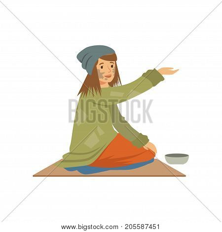 Homeless young woman character sitting on the street asking for help, unemployment man needing help vector illustration isolated on a white background
