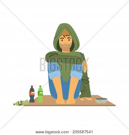 Young homeless man character sitting on the street, unemployment man needing help vector illustration isolated on a white background poster