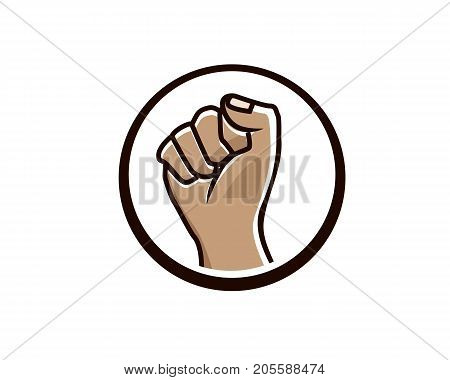 bold fist illustration, silhouette design, isolated on white background.