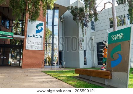 Shepparton, Australia - June 12, 2017: Council offices of the Greater Shepparton City Council. This rural local government area has a population of 60000.