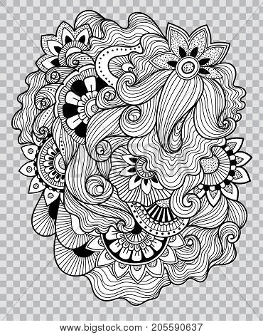 Black and white coloring. Floral tattoo artwork. Beautiful flower composition for tattoo. Doudle art floral composition. Zentangle floral ornament. Black line art on transparent background.