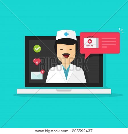 Doctor online vector illustration, flat cartoon man doctor answers via laptop computer on-line video technology, remote medical consultation via internet, telemedicine chat message