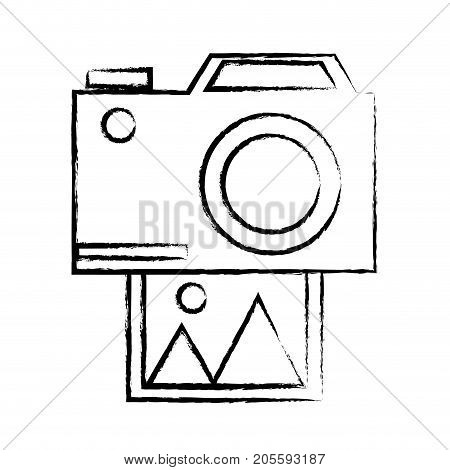 figure camera technology with digital photo image vector illustration