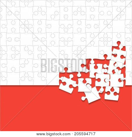 Some White Puzzles Pieces in Red Background - Vector Illustration. Scattered Jigsaw Puzzle Blank Template. Vector Background.