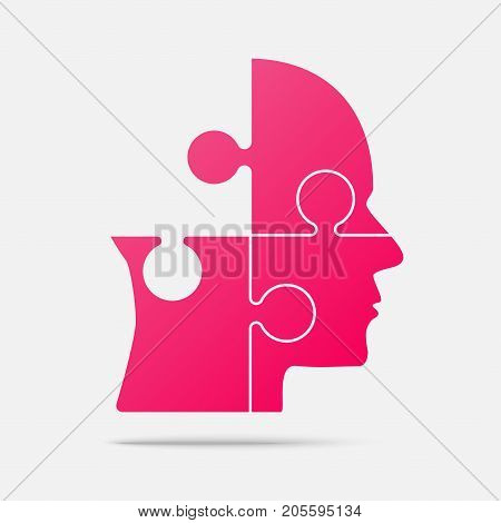 Material Design Pink Puzzle Piece Silhouette Head in a Grey Square - Vector Illustration. Jigsaw Puzzle Blank Template. Vector Object.