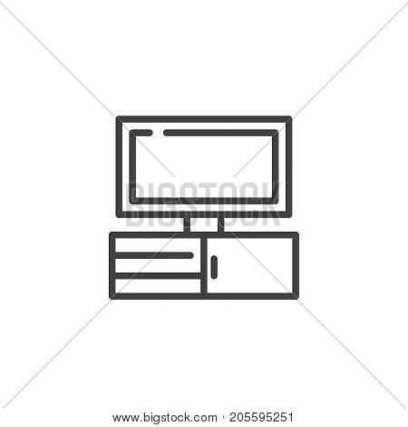 Tv line icon, outline vector sign, linear style pictogram isolated on white. television symbol, logo illustration. Editable stroke