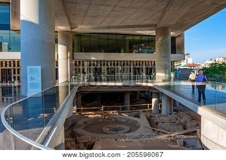 ATHENS, GREECE - JUNE, 2011: Entrance of the New Acropolis Museum in Athens. Designed by the Swiss-French Architect Bernard Tschumi. Open to the public since 2009.