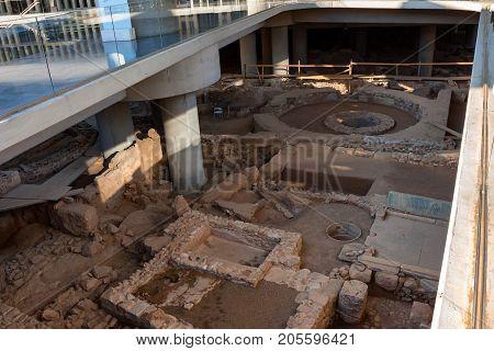 ATHENS, GREECE - JUNE, 2011: Excavation under museum of Athens acropolis