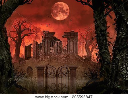 3D rendering Halloween concept of old churchyard ruins in a enchanting spooky forest under full moon.