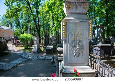 SAINT PETERSBURG, RUSSIA - JUNE, 2015: NECROPOLIS OF ALEXANDER NEVSKY LAVRA. MONUMENT TO RUSSIAN SCIENTIST LOMONOSOV