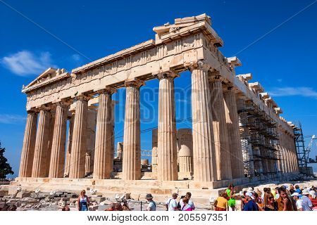 ATHENS, GREECE - JUNE, 2011: Ruins of ancient temple of Parthenon, popular tourist attraction