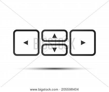 Key arrow button black icon . Vector illustration