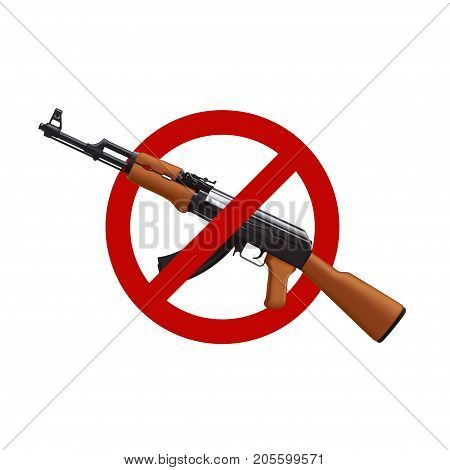 illustration of assault rifle with red circle sign isolated on white background