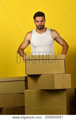 Delivery And Moving In Concept: Guy With Cartons