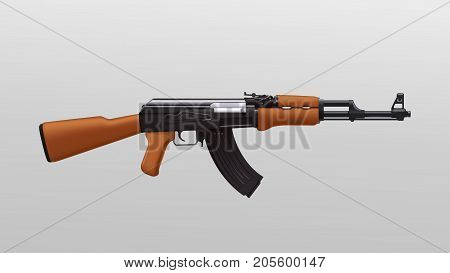 illustration of russian assault rifle detailed on bright background