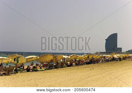 La Barceloneta Beach In Barcelona, Spain.