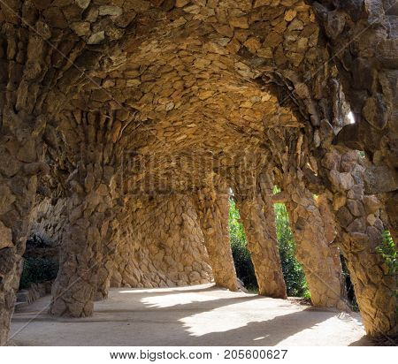 Stone Walkway In The Park Guell In