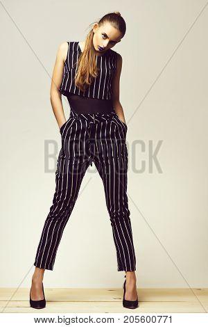 Pretty Girl In Striped Suit