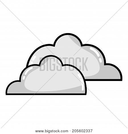 grayscale nice clouds natural weather design vector illustration