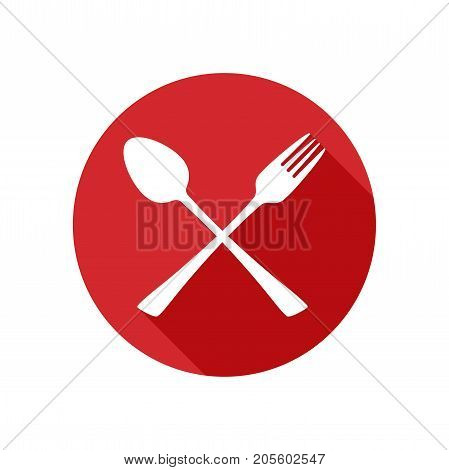 Fork and Spoon Icon With Long Shadow