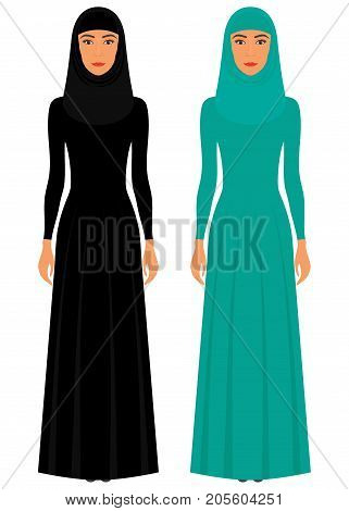 The Beautiful Muslim Woman In A Hijab. Arabian Women Traditional Clothing. Muslim Women In Full Grow