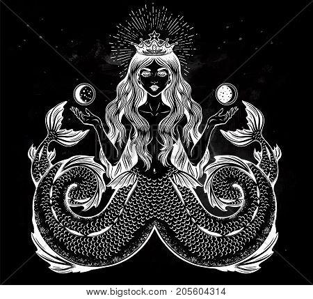 Hand drawn artwork alchemy Melusine Siren, Twin-tailed Mermaid girl with fairytale hair. Ocean beast. Sea, fantasy, spirituality, mythology, tattoo art, coloring books. Isolated vector illustration.