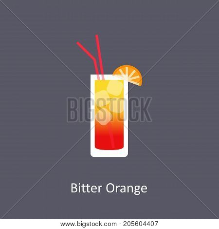 Bitter Orange cocktail icon on dark background in flat style. Vector illustration