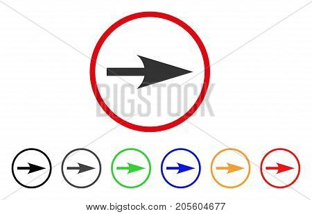 Arrow Axis X icon. Vector illustration style is a flat iconic arrow axis x grey rounded symbol inside red circle with black, gray, green, blue, red, orange color additional versions.