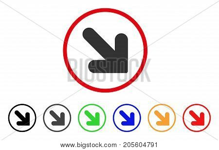 Arrow Down Right icon. Vector illustration style is a flat iconic arrow down right grey rounded symbol inside red circle with black, gray, green, blue, red, orange color additional versions.