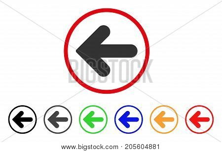 Arrow Left icon. Vector illustration style is a flat iconic arrow left gray rounded symbol inside red circle with black, gray, green, blue, red, orange color additional versions.