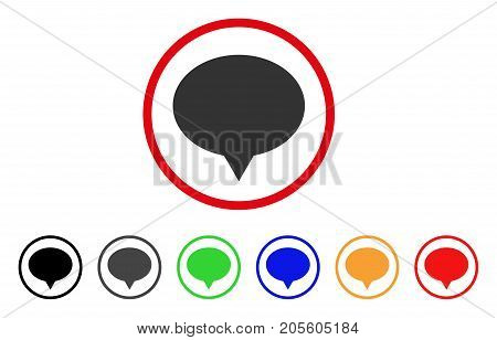 Banner icon. Vector illustration style is a flat iconic banner gray rounded symbol inside red circle with black, gray, green, blue, red, orange color variants.