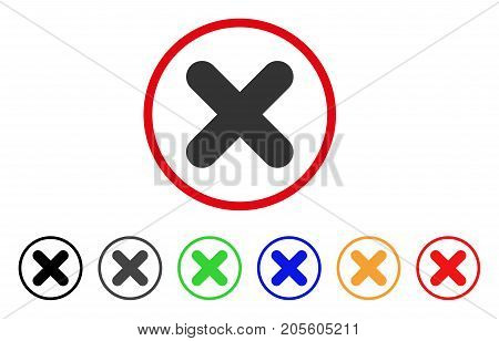 Cancel icon. Vector illustration style is a flat iconic cancel grey rounded symbol inside red circle with black, gray, green, blue, red, orange color additional versions.