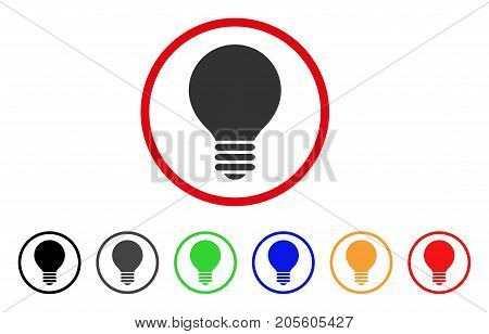 Electric Bulb icon. Vector illustration style is a flat iconic electric bulb grey rounded symbol inside red circle with black, gray, green, blue, red, orange color versions.