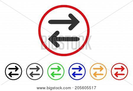 Flip Horizontal icon. Vector illustration style is a flat iconic flip horizontal grey rounded symbol inside red circle with black, gray, green, blue, red, orange color variants.