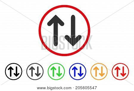 Flip Vertical icon. Vector illustration style is a flat iconic flip vertical gray rounded symbol inside red circle with black, gray, green, blue, red, orange color additional versions.