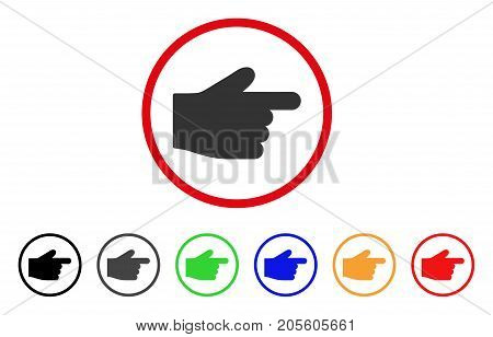 Index Finger icon. Vector illustration style is a flat iconic index finger grey rounded symbol inside red circle with black, gray, green, blue, red, orange color additional versions.