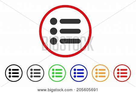 Items icon. Vector illustration style is a flat iconic items gray rounded symbol inside red circle with black, gray, green, blue, red, orange color additional versions.