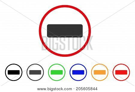 Minus icon. Vector illustration style is a flat iconic minus grey rounded symbol inside red circle with black, gray, green, blue, red, orange color versions. Designed for web and software interfaces.