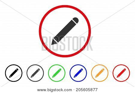 Pencil icon. Vector illustration style is a flat iconic pencil grey rounded symbol inside red circle with black, gray, green, blue, red, orange color variants.
