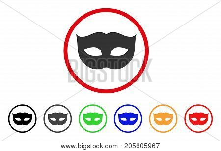 Privacy Mask icon. Vector illustration style is a flat iconic privacy mask gray rounded symbol inside red circle with black, gray, green, blue, red, orange color additional versions.