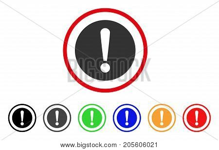 Problem icon. Vector illustration style is a flat iconic problem gray rounded symbol inside red circle with black, gray, green, blue, red, orange color variants.