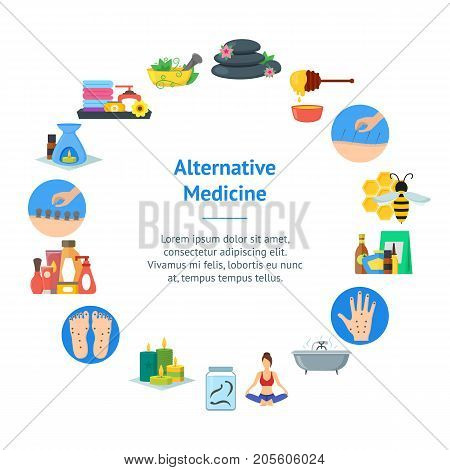 Cartoon Alternative Medicine Banner Card Circle Flat Style Design Elements. Vector illustration of Spa, Yoga, Aromatherapy and Apitherapy