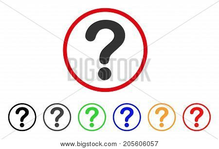 Question icon. Vector illustration style is a flat iconic question gray rounded symbol inside red circle with black, gray, green, blue, red, orange color additional versions.