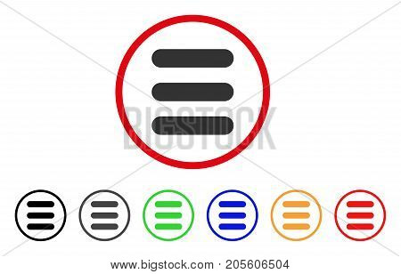 Stack icon. Vector illustration style is a flat iconic stack grey rounded symbol inside red circle with black, gray, green, blue, red, orange color variants. Designed for web and software interfaces.